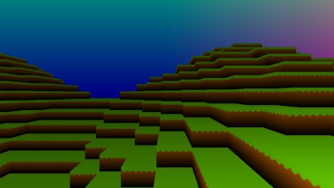 A voxel landscape in two tweets (280 chars). (Remake of this shader: [url]https://www.shadertoy.com/view/4ds3WS[/url])