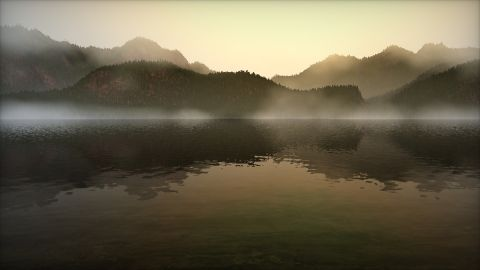 A misty lake in the morning. Cloud and noise functions by Inigo Quilez.  You can use your mouse to look around.