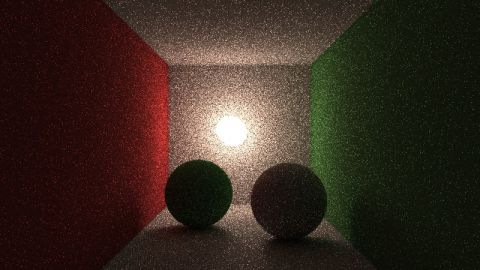 Yesterday, I found out about bidirectional path tracing. I didn't read the articles, but looked at the images and I tried to implement something myself. Therefore, I think most of the math will be incorrect - but it looks nice. Only diffuse lighting.
