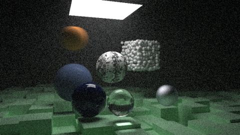 "These shaders are my implementation of the ray/path tracer described in the book ""Raytracing in one weekend"" by Peter Shirley. - DOF and motion blur; boxes, spheres and constant mediums; Lambertian, dielectric, isotropic, emissive and metal materials -"