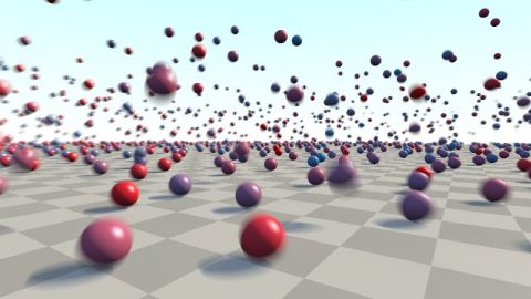 Because there is no character limit anymore, a lot more spheres can be rendered. This shader uses code of the [url=https://www.shadertoy.com/view/MdB3Dw]Analytical Motionblur 3D[/url] shader by Inigo and a grid to trace a lot of spheres.