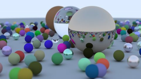 """These shaders are my implementation of the ray/path tracer described in the book """"Raytracing in one weekend"""" by Peter Shirley. I have tried to follow the code from his book as much as possible."""
