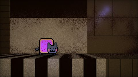 Nyan exploring. The shader shows the procedural textures of my shader 'Abandond base on Mars': https://www.shadertoy.com/view/4sfGR7.