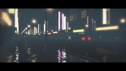 Tokyo by night in the rain. The car model is made by Eiffie (Shiny Toy': https://www.shadertoy.com/view/ldsGWB). I have never been in Tokyo btw.