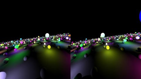 Just a modification of the shader 'lot of spheres', so you can use it with the Oculus Rift (http://www.oculusvr.com/). All constants are empircal measured. Run the shader full screen.