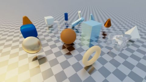This is a collection of ray-primitive intersection routines ([url=http://iquilezles.org/www/articles/intersectors/intersectors.htm]by Íñigo Quílez[/url]).  Use your mouse to change the camera viewpoint.